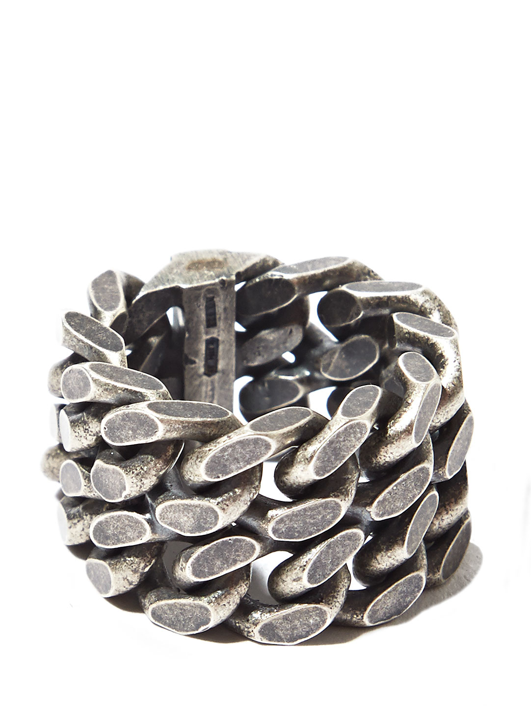 Saint Laurent Mens Silver Double Chain Ring In Metallic