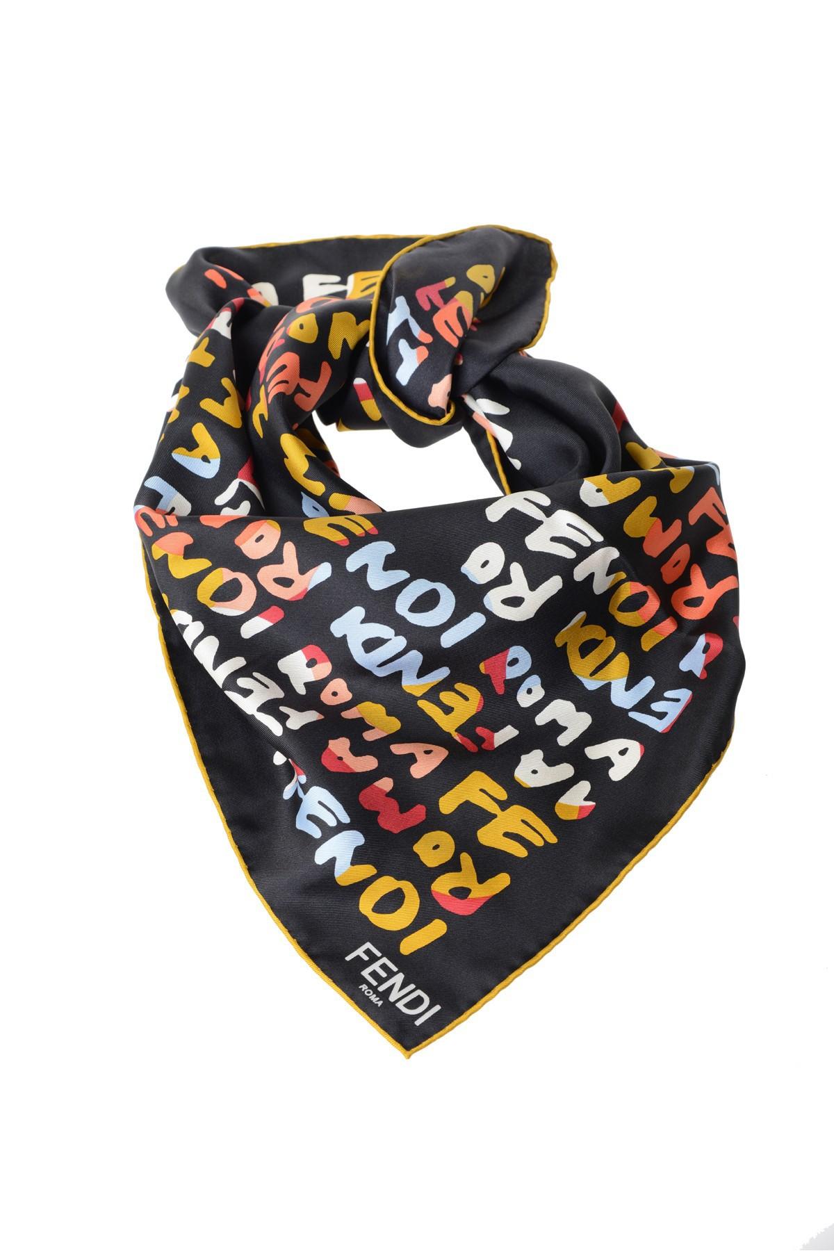 fendi printed silk scarf in black lyst