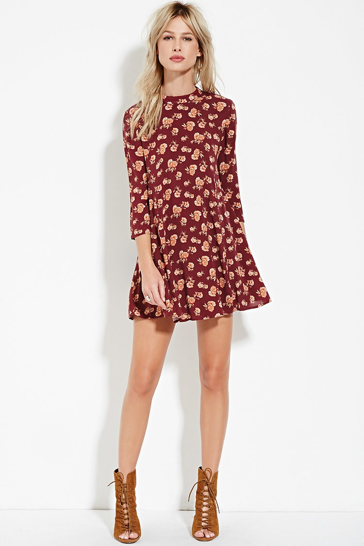 b78c07e284f9 Forever 21 Rose Print Babydoll Dress in Red - Lyst
