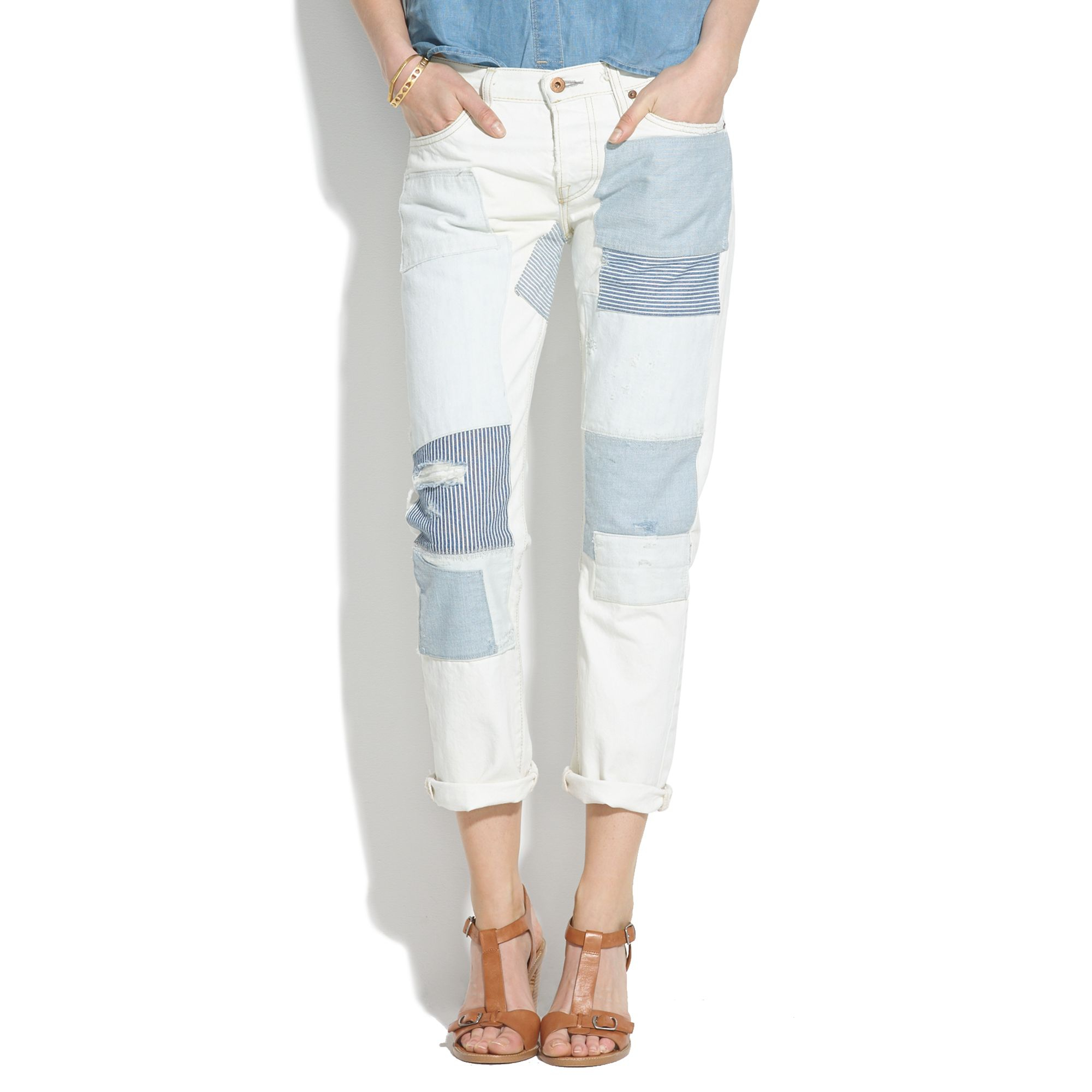 Madewell Nsf® Beck Patched Boyfriend Jeans in Blue | Lyst