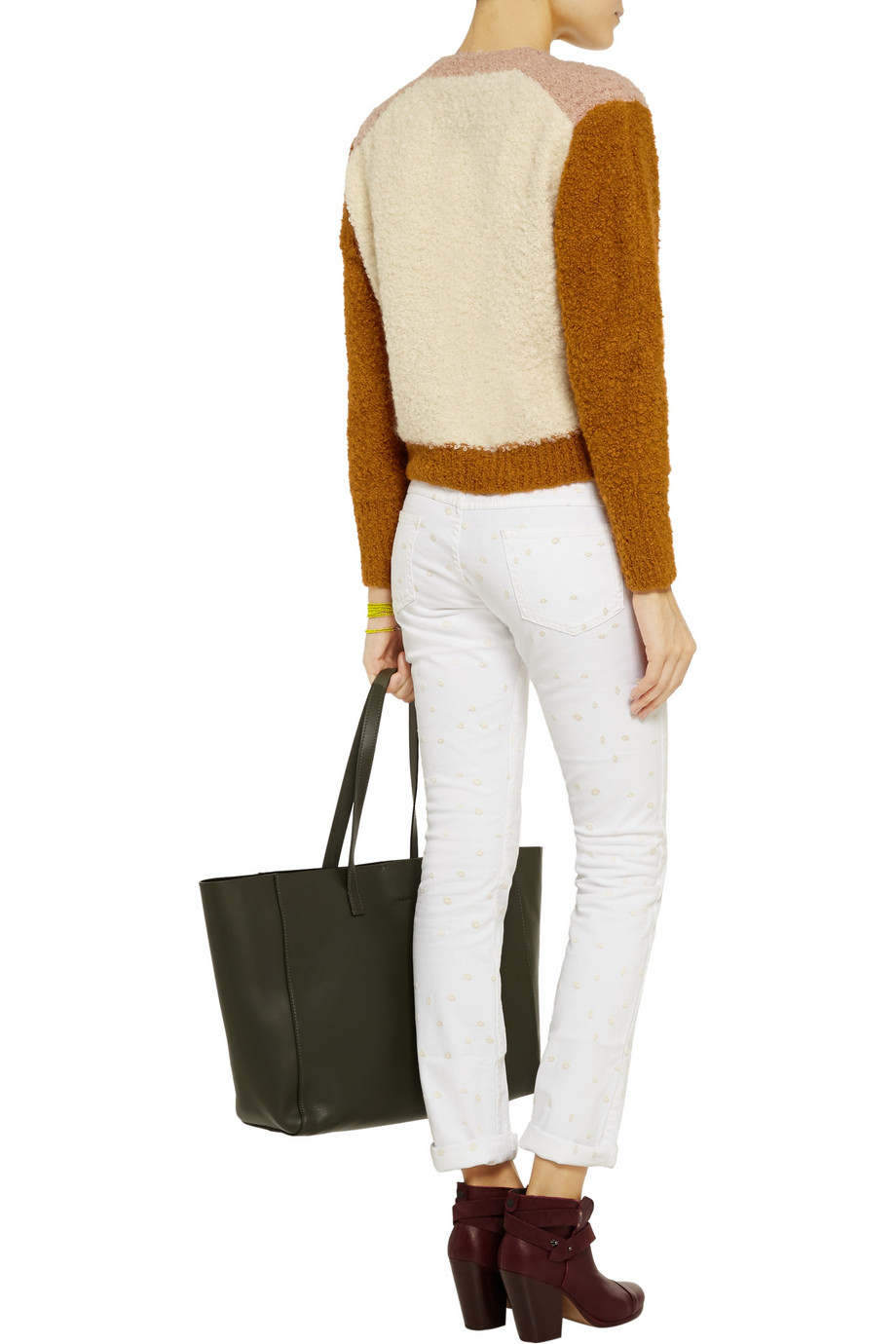 Étoile Isabel Marant Denim Rumba Embroidered Low-rise Skinny Jeans in White