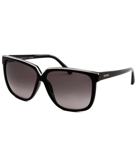 c8437ab37b Valentino Womens Square Black and Silvertone Sunglasses in Black - Lyst
