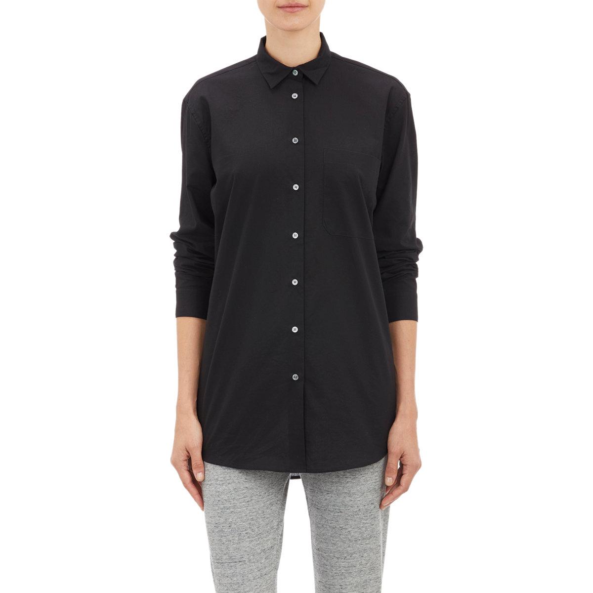 Atm women 39 s poplin dress shirt in black lyst for Tony collar dress shirt