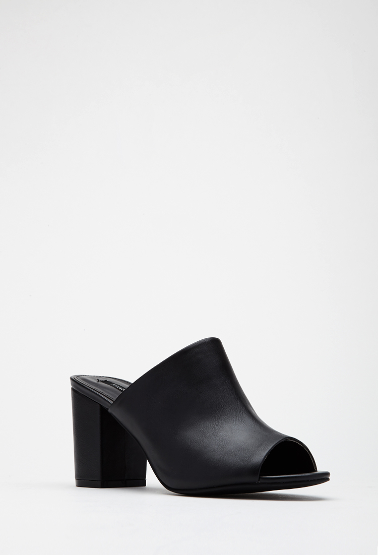 Forever 21 Faux Leather Peep-toe Mules