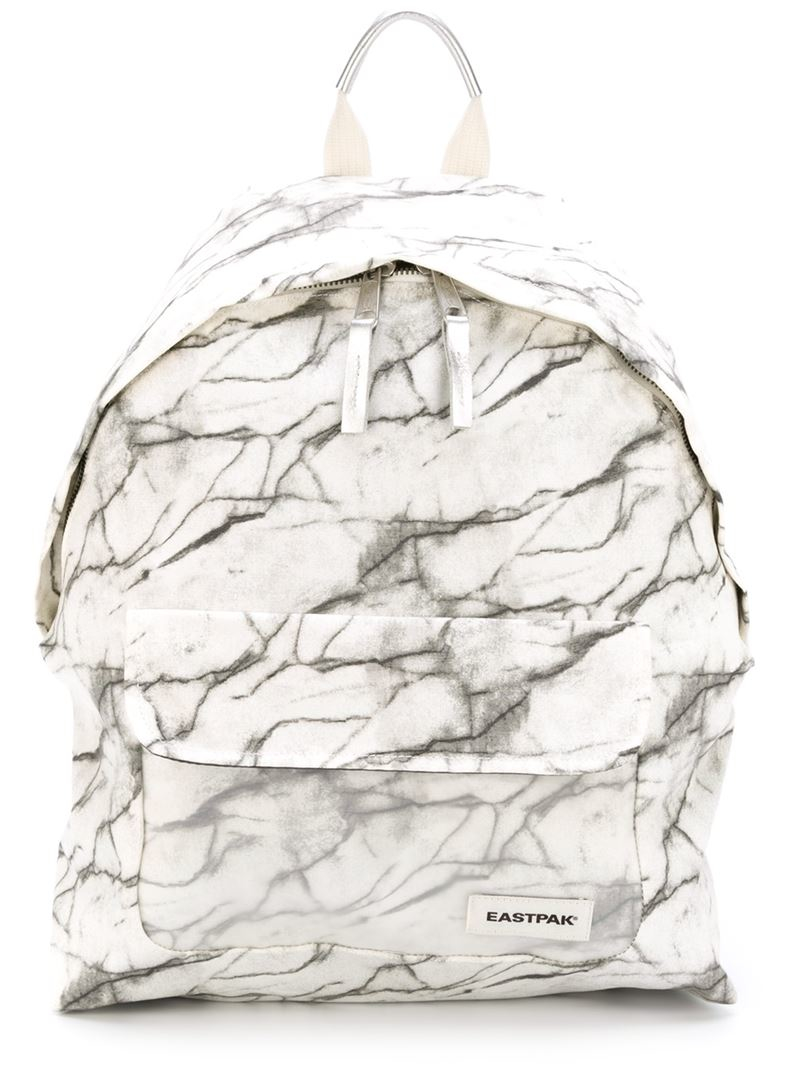 eastpak marble print backpack in white lyst