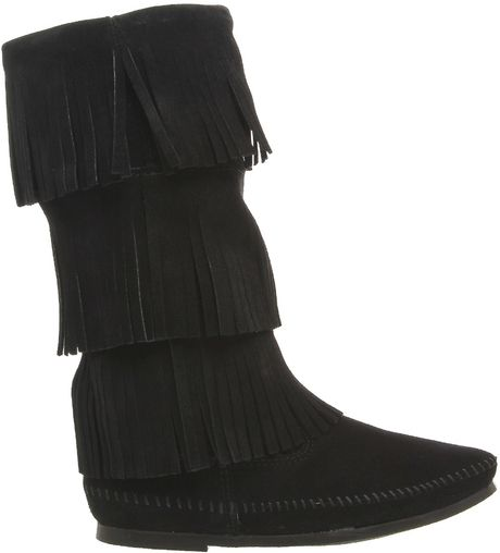 minnetonka calf hi 3 layer fringe boots in black lyst