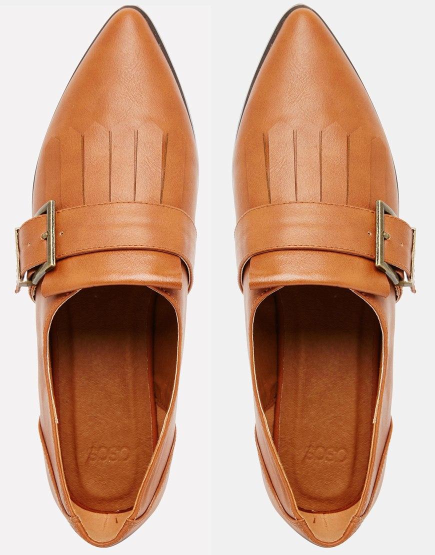 e416c95c8 ASOS Memo Fringe Flat Shoes - Tan in Brown - Lyst