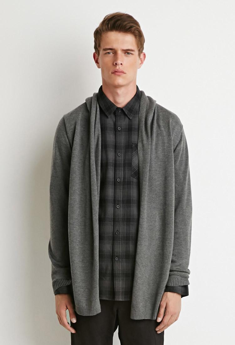Forever 21 Hooded Longline Cardigan in Gray for Men | Lyst