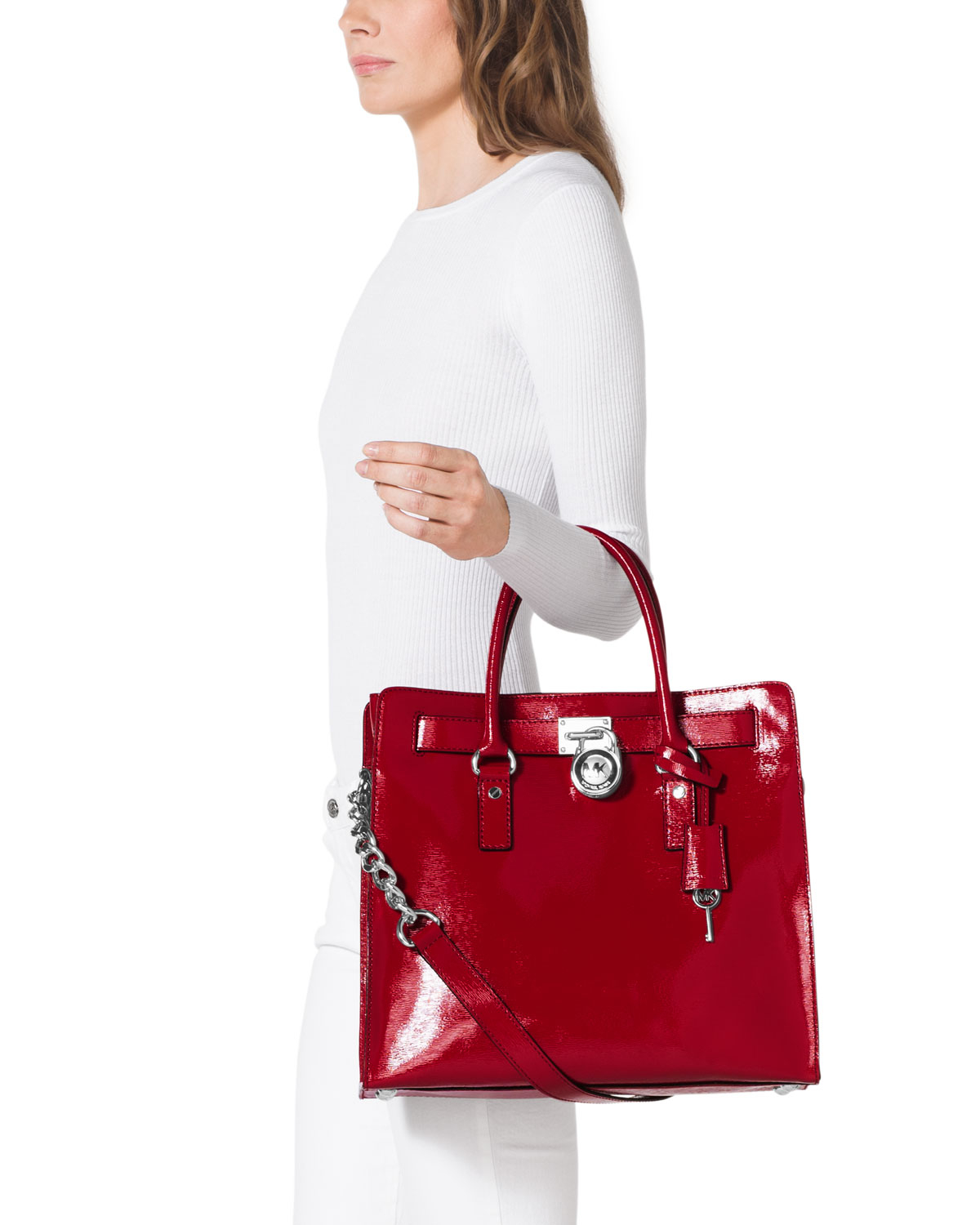 a85d80074407 Michael Kors Michael Large Hamilton Patent Tote in Red - Lyst