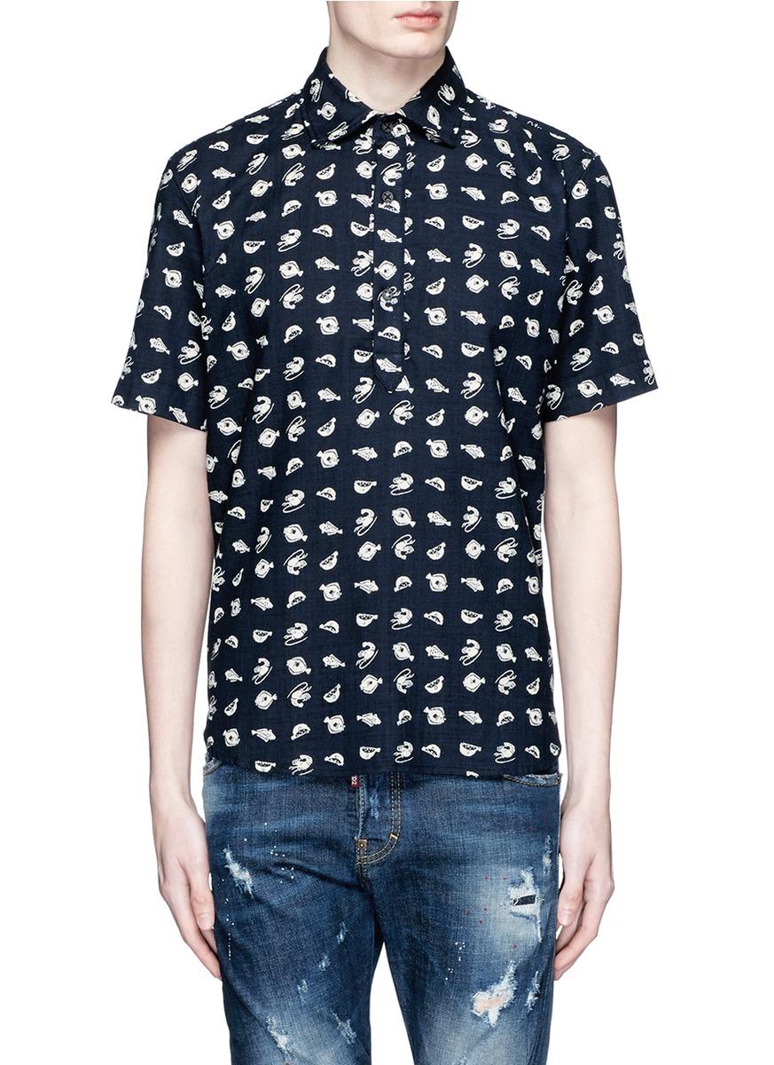 3x1 fish print shortsleeved shirt in black for men lyst for Fish print shirt