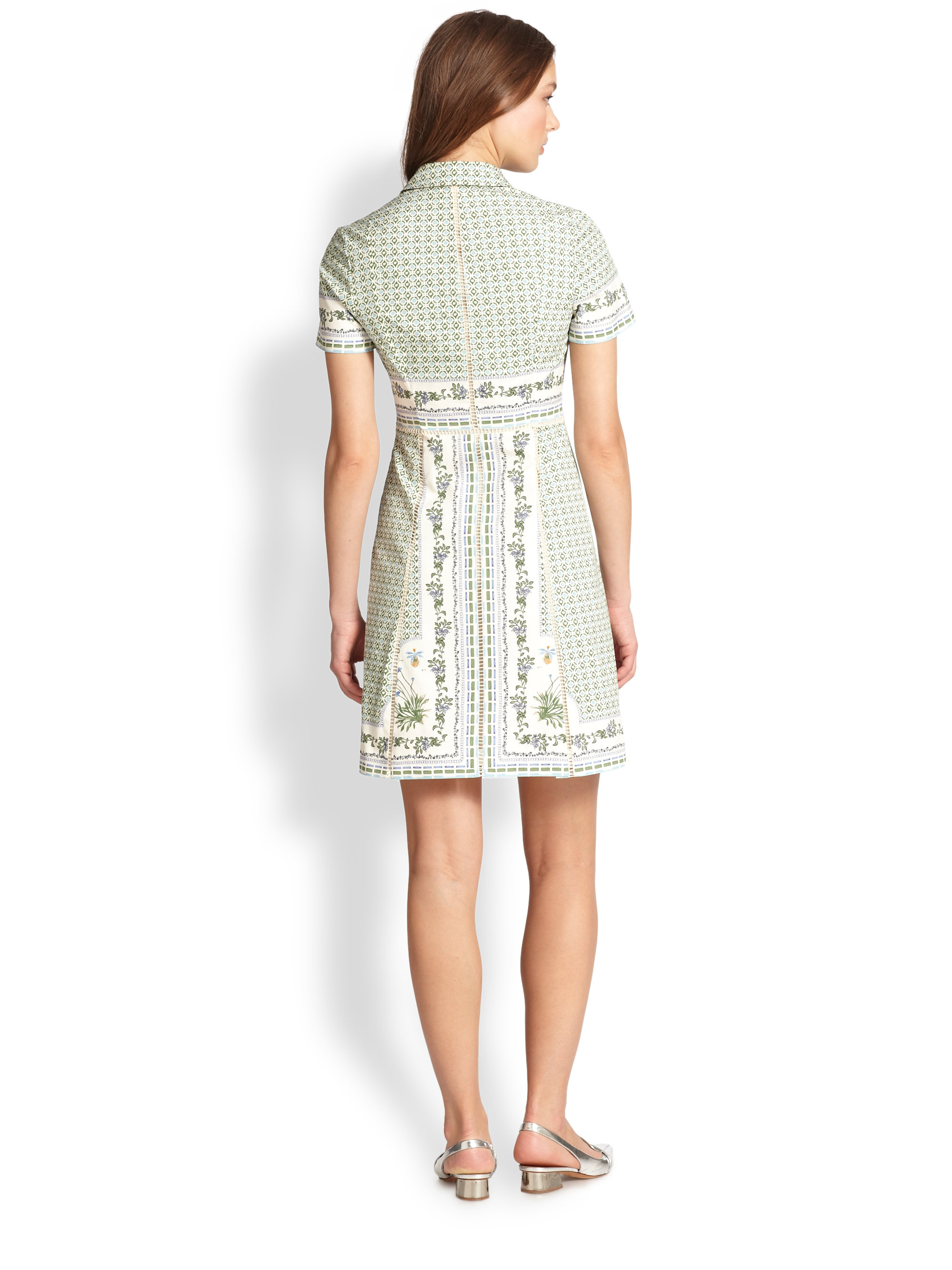 Tory burch talia shirtdress in green lyst for Tory burch fashion island