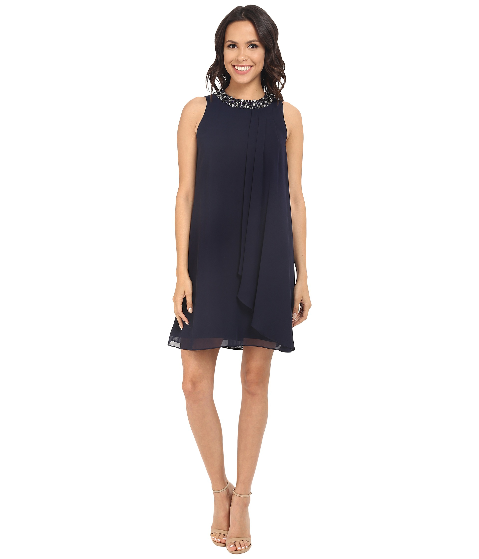 Lyst - Vince Camuto Short Chiffon Dress W/ Single Side Pleated Piece ...