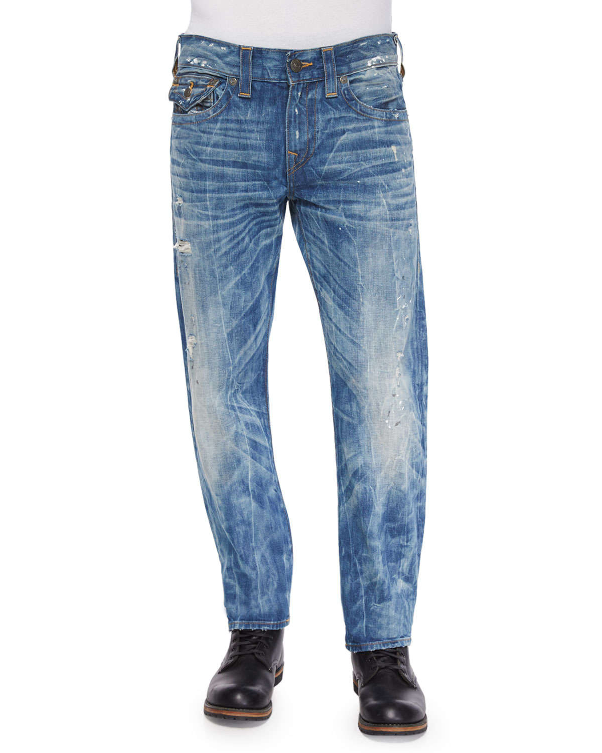 true religion geno distressed ripped denim jeans in blue. Black Bedroom Furniture Sets. Home Design Ideas