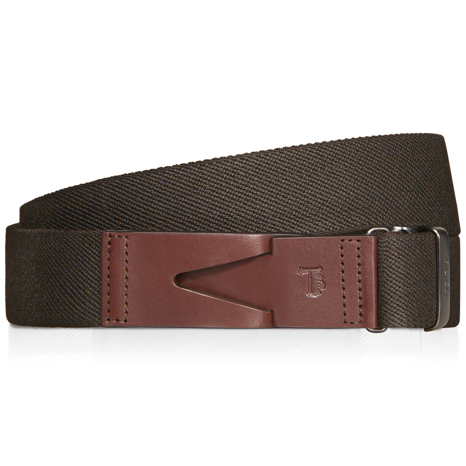 tod s canvas and leather belt in brown for lyst