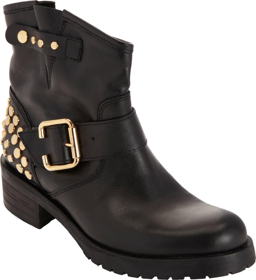 barneys new york studded biker boot in black lyst