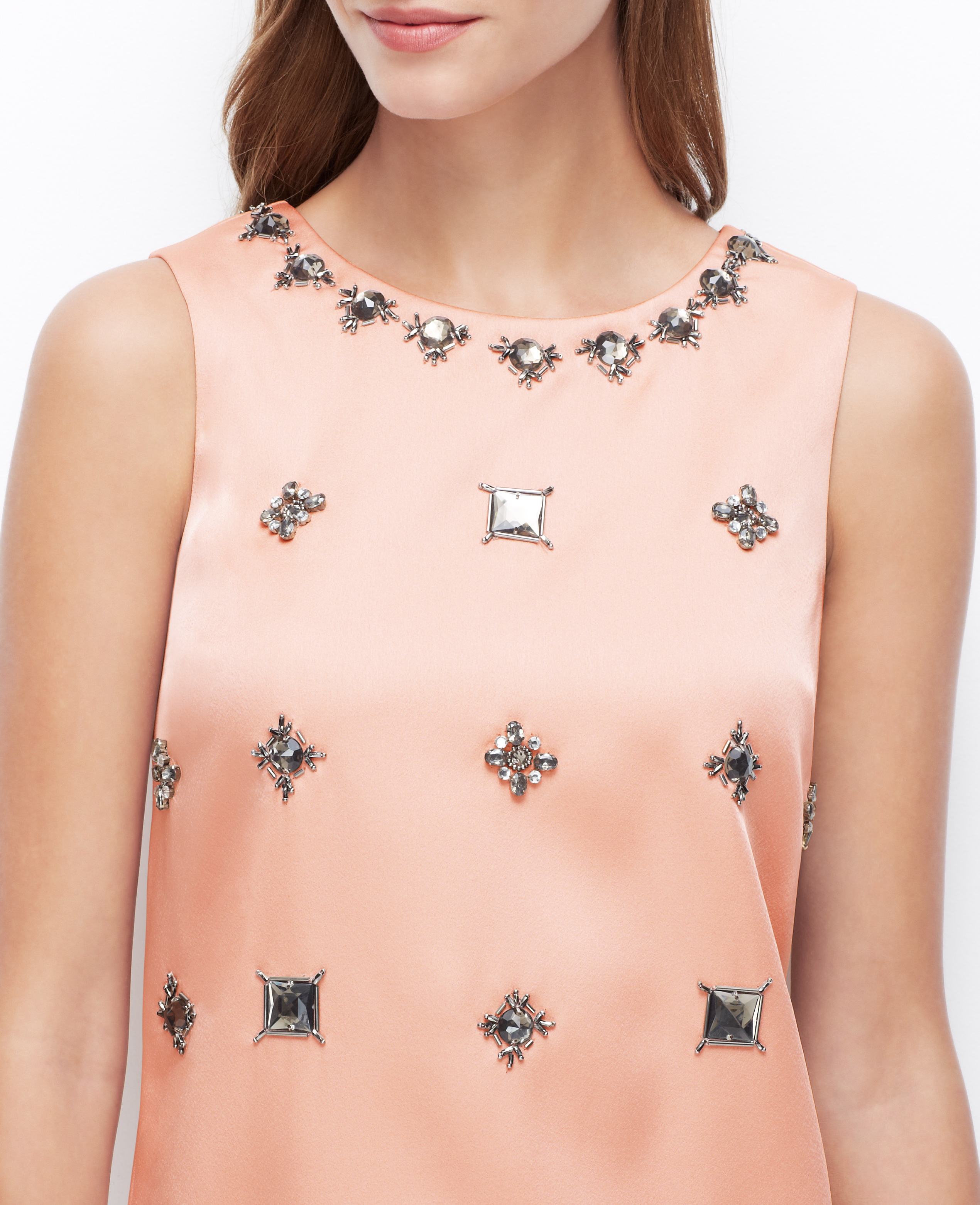 Lyst - Ann Taylor Petite Jeweled Shift Dress in Pink