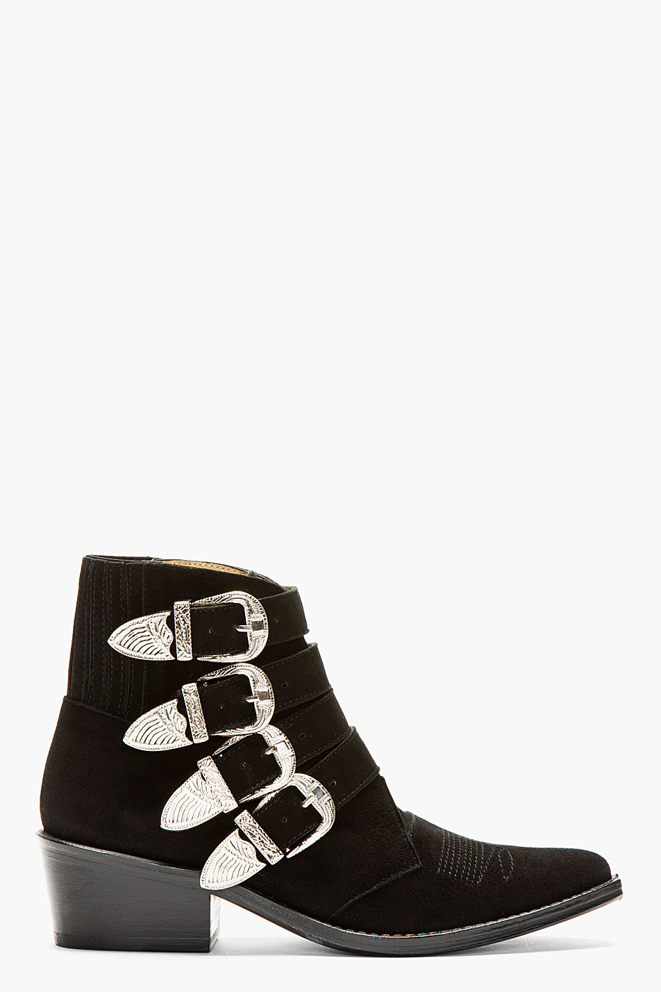 toga pulla black suede western buckle ankle boot in black