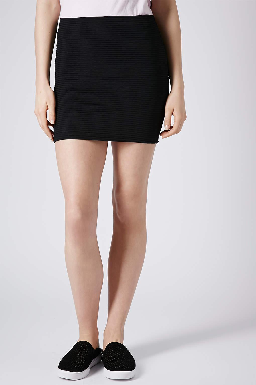 7d87edcbdc596d TOPSHOP Ribbed Bodycon Mini Skirt in Black - Lyst