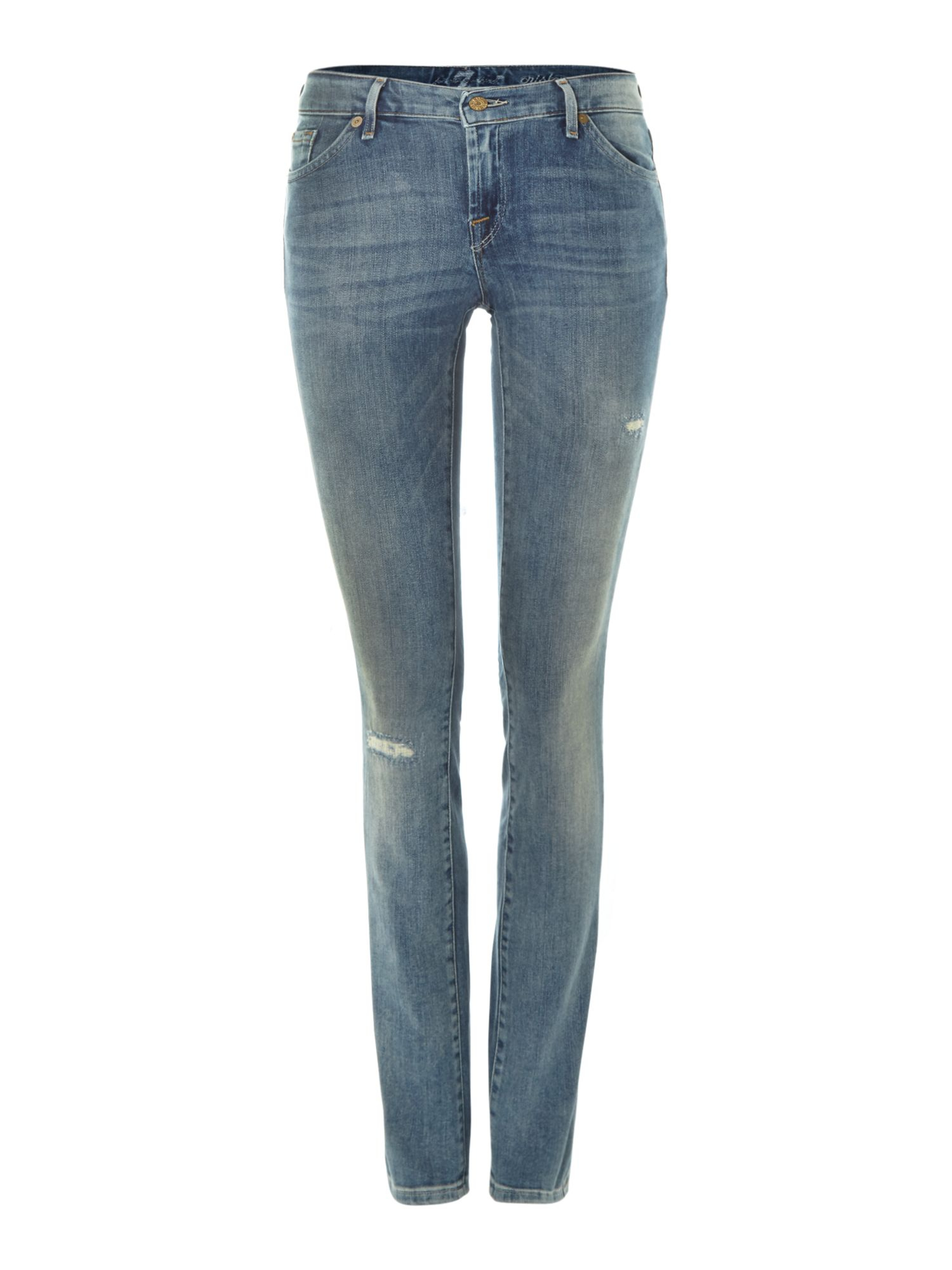 7 for all mankind cristen skinny jeans in light cobalt sky in blue cobalt lyst. Black Bedroom Furniture Sets. Home Design Ideas