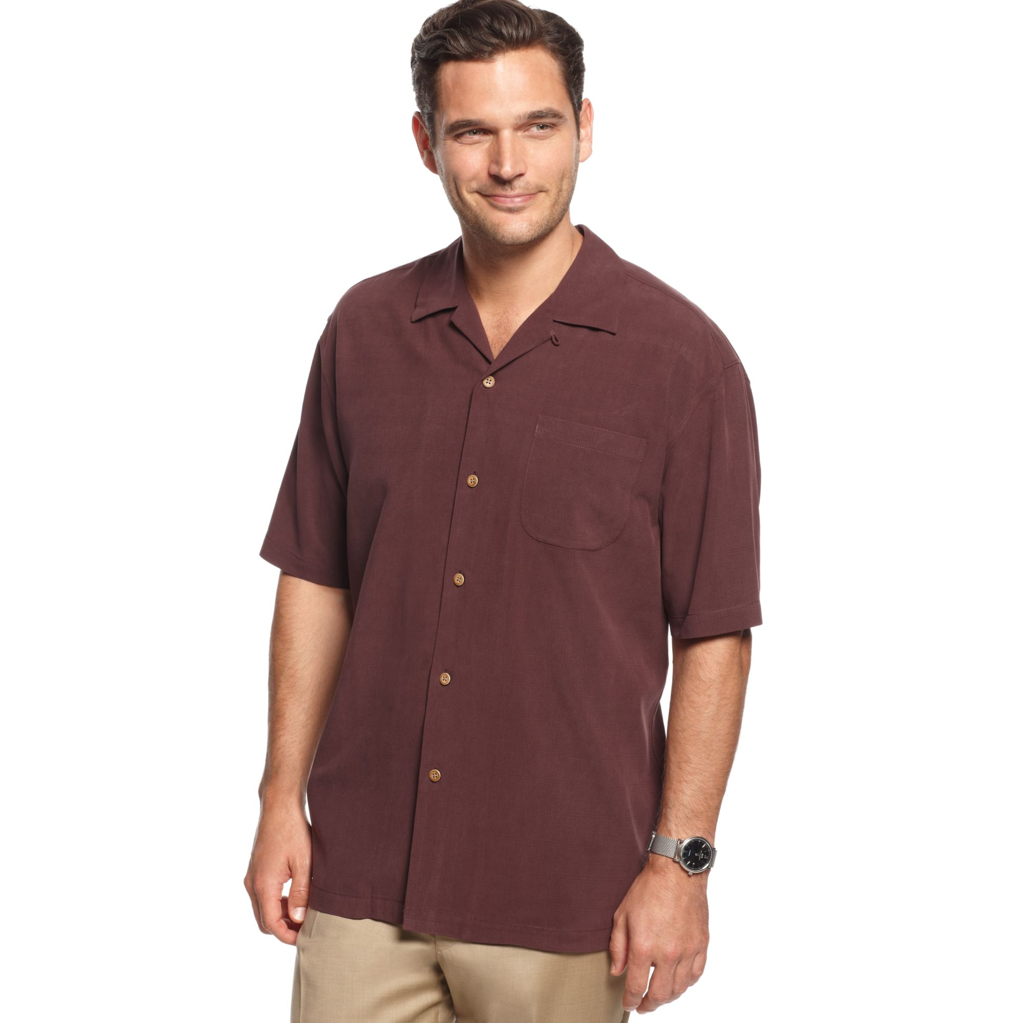 Tommy Bahama Davine Interventions Silk Shirt In Brown For
