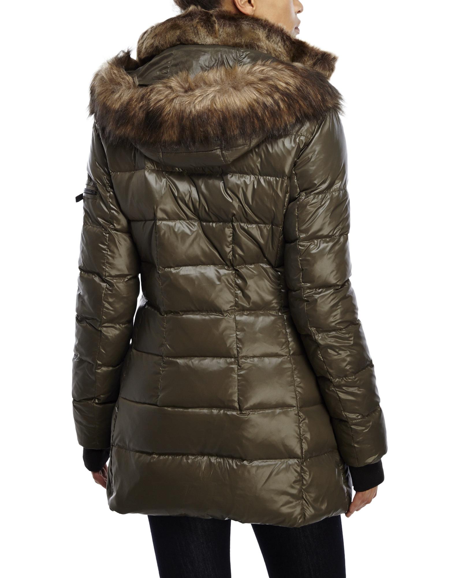 66b92ce51 S13/nyc Brown Faux Fur Trim Down Puffer Coat