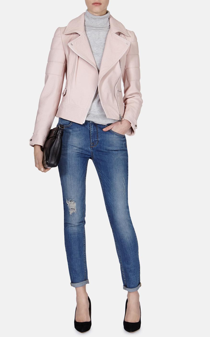 3b9f34056 Karen Millen Pastel Leather Biker Jacket in Pink - Lyst