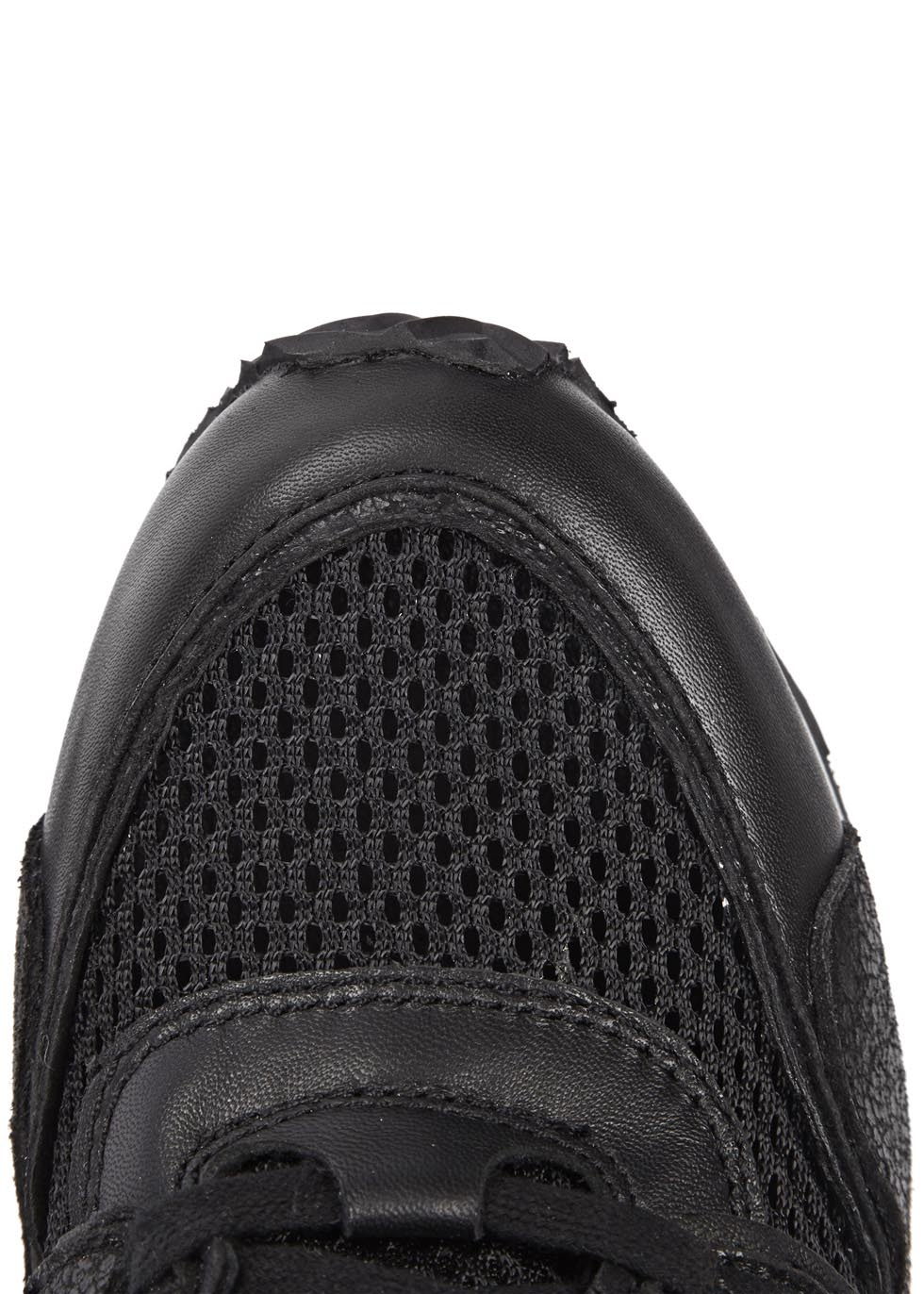 Ash Dean Mesh Black Leather Wedge Trainers