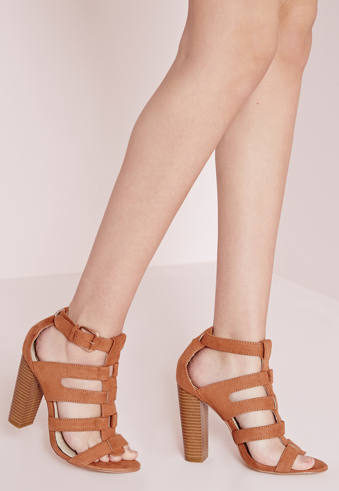 Lyst Missguided Gladiator Heeled Sandals Tan Faux Suede