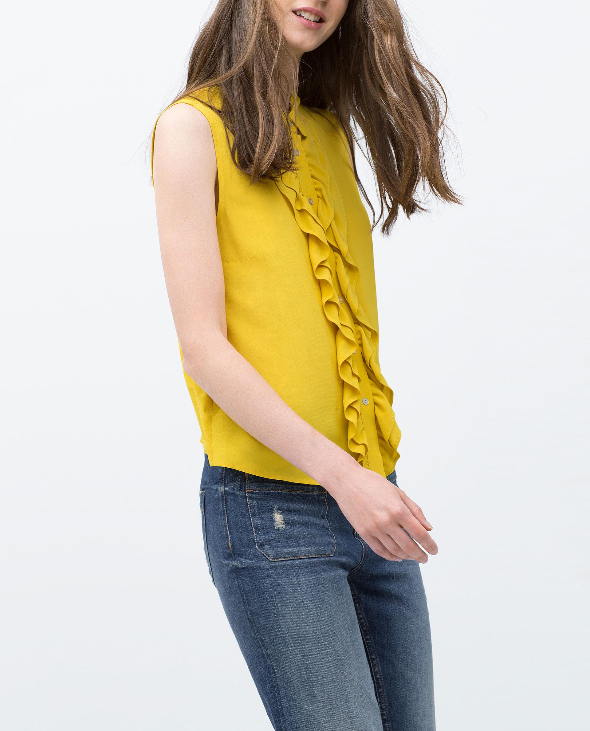 Zara Yellow Viscose Blouse 25