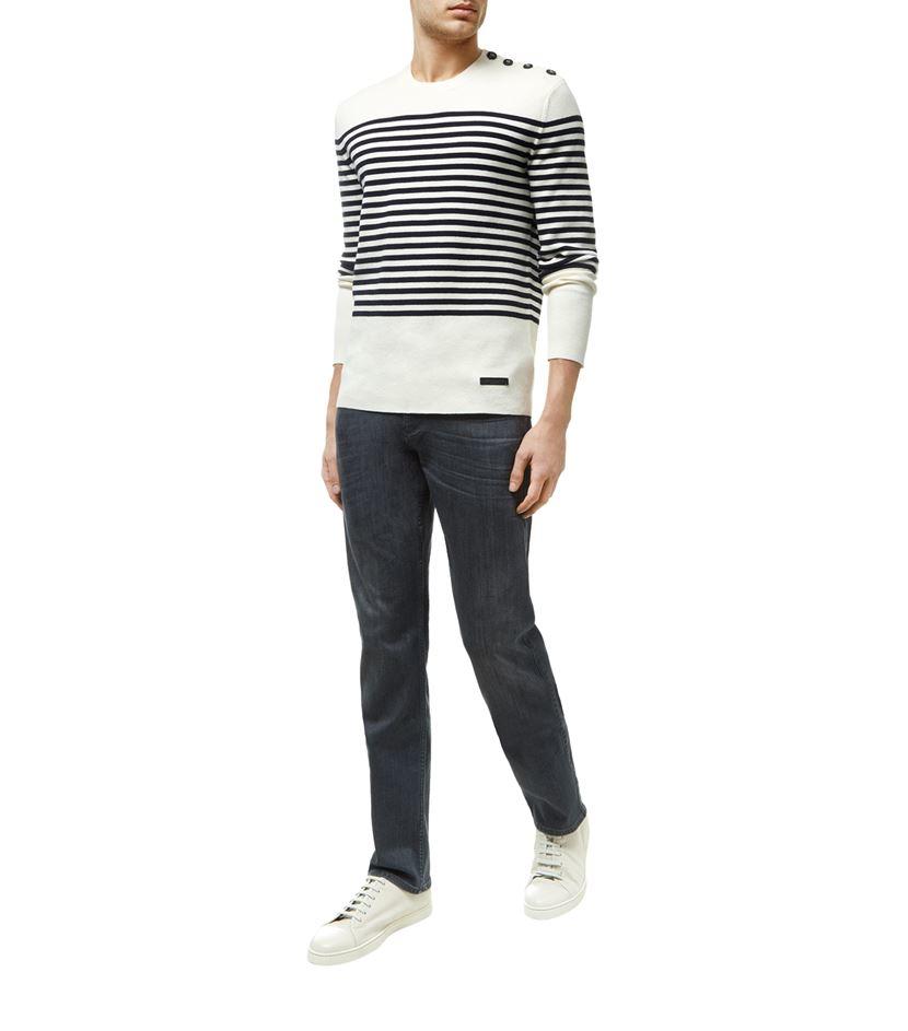 Burberry Milano Knit Stripe Sweater in White for Men