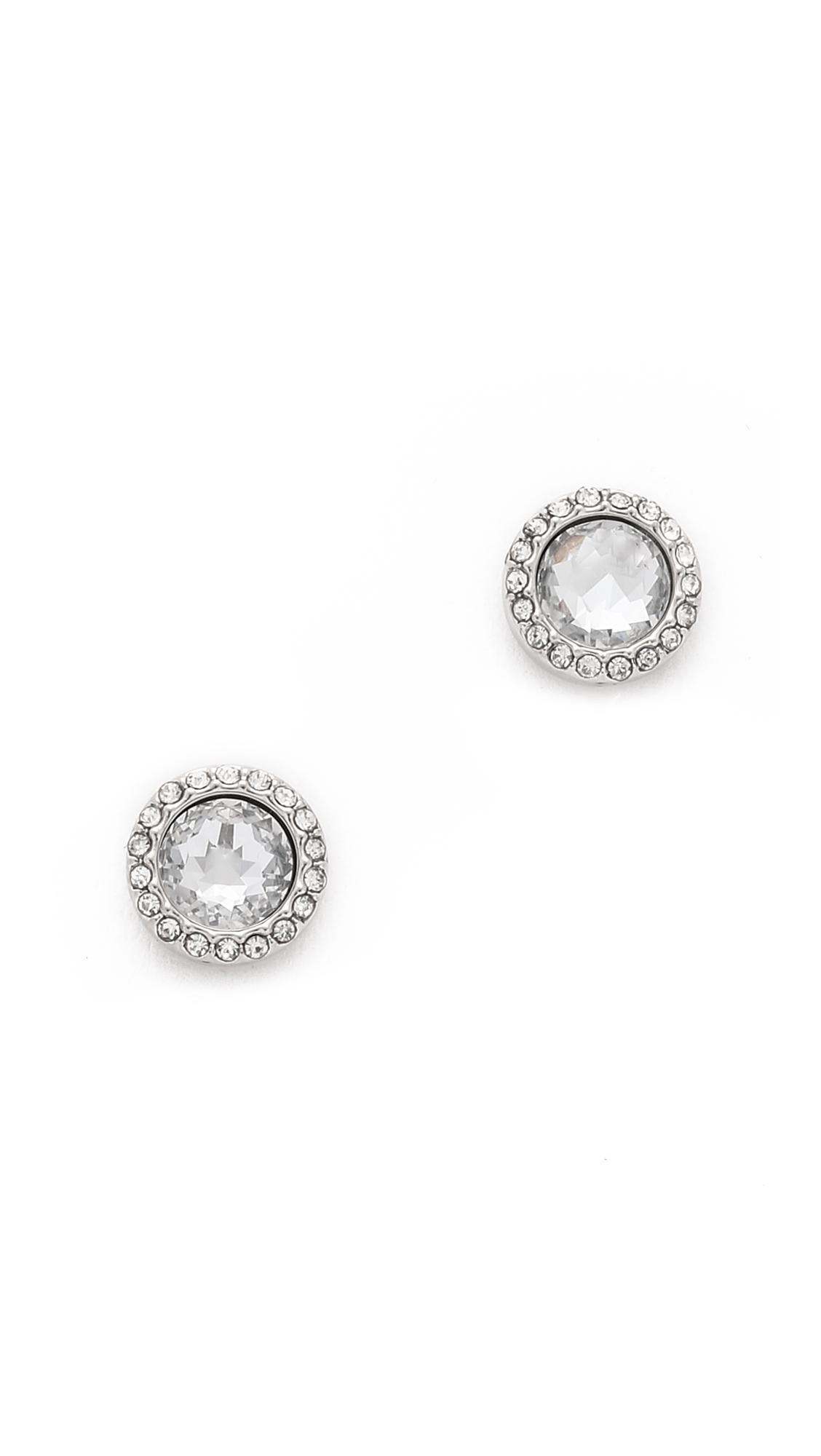Rebecca Minkoff Crystal Halo Stud Earring in Metallic Silver ROnJCX