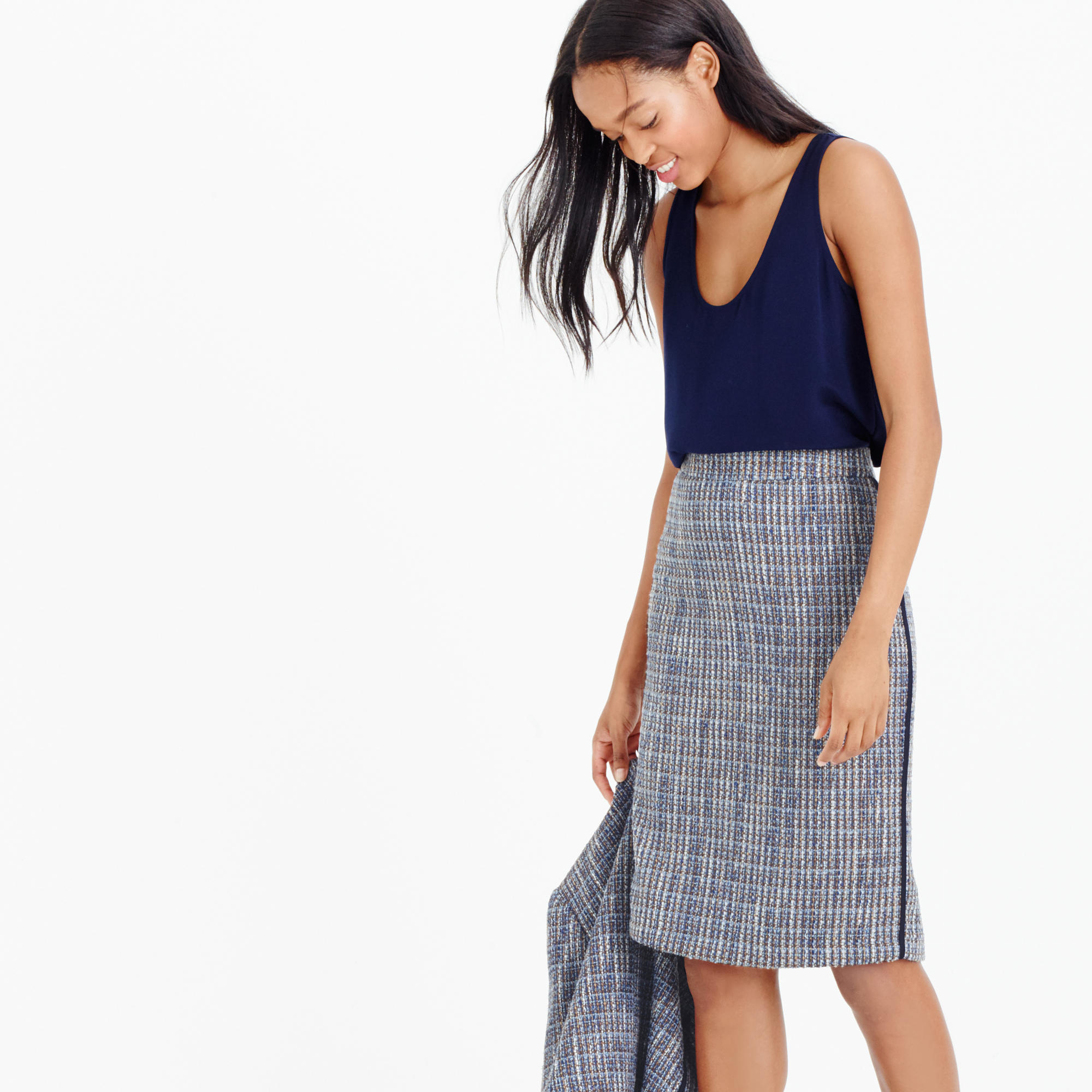 261adc757 J.Crew Pencil Skirt In Flecked Tweed in Blue - Lyst