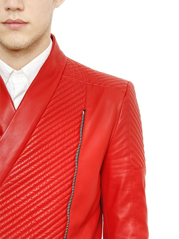 Balmain Nappa Leather Moto Jacket in Red for Men