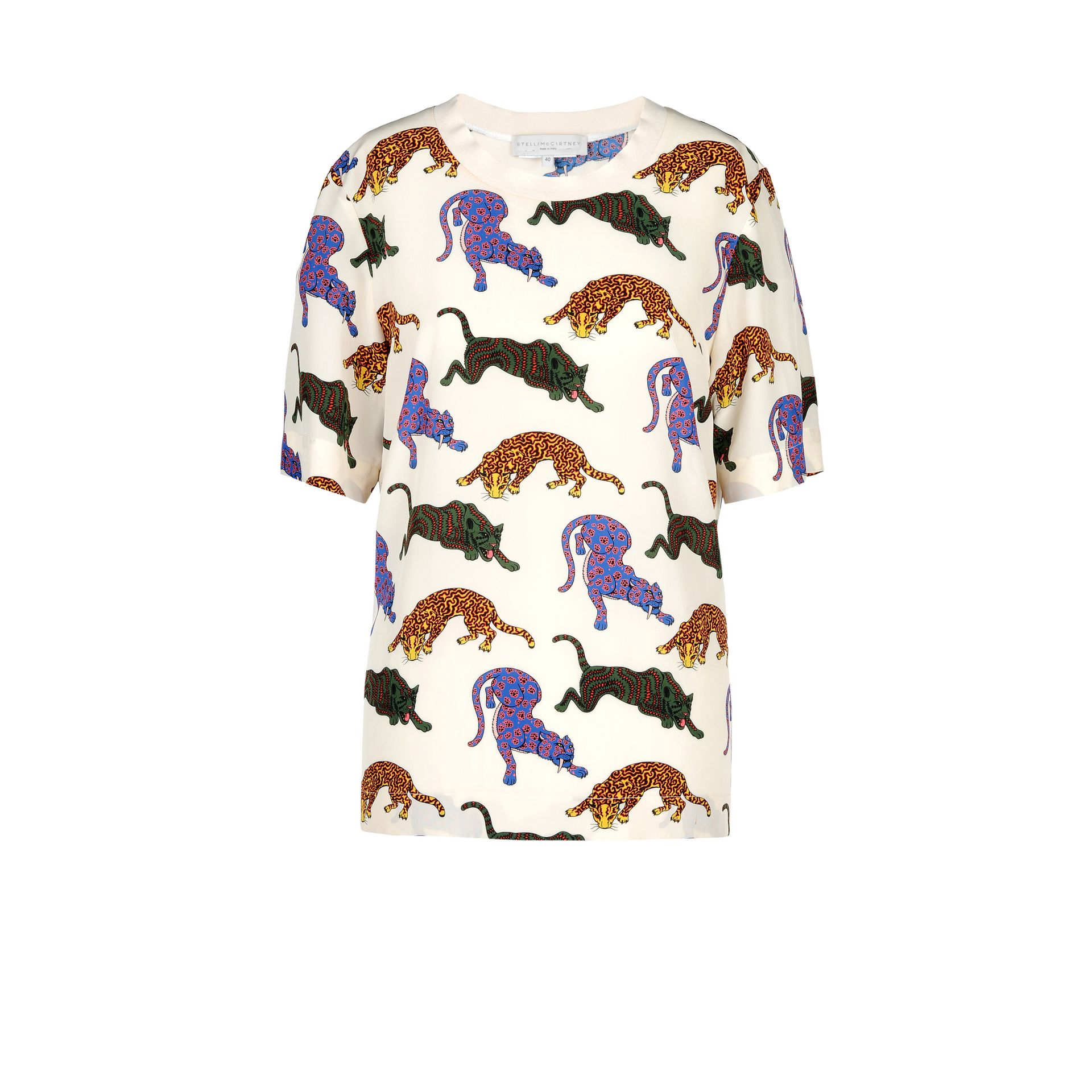 d33a5761d8bd Lyst - Stella McCartney Molly Wild Cat-print Silk Top in Natural