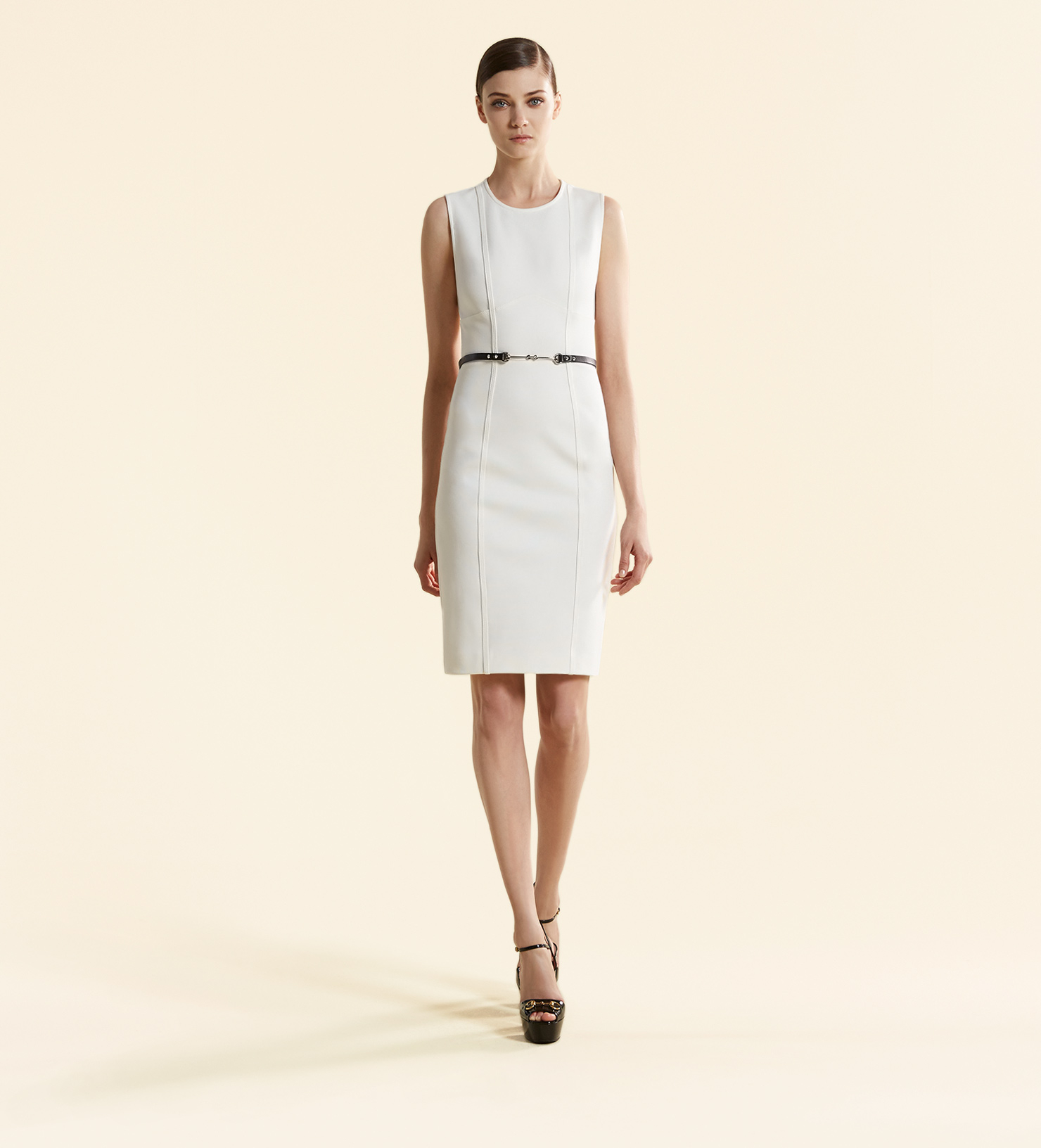 5efd327a023 Gucci Viscose Jersey Belted Sleeveless Dress in White - Lyst