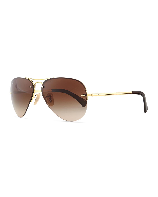 838afca570 ... new style lyst ray ban semi rimless aviator sunglasses in metallic  02221 d9628 ...