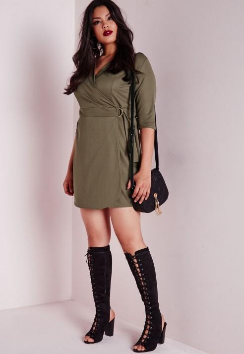Lyst Missguided Plus Size Wrap Crepe Belt Dress Khaki In Green
