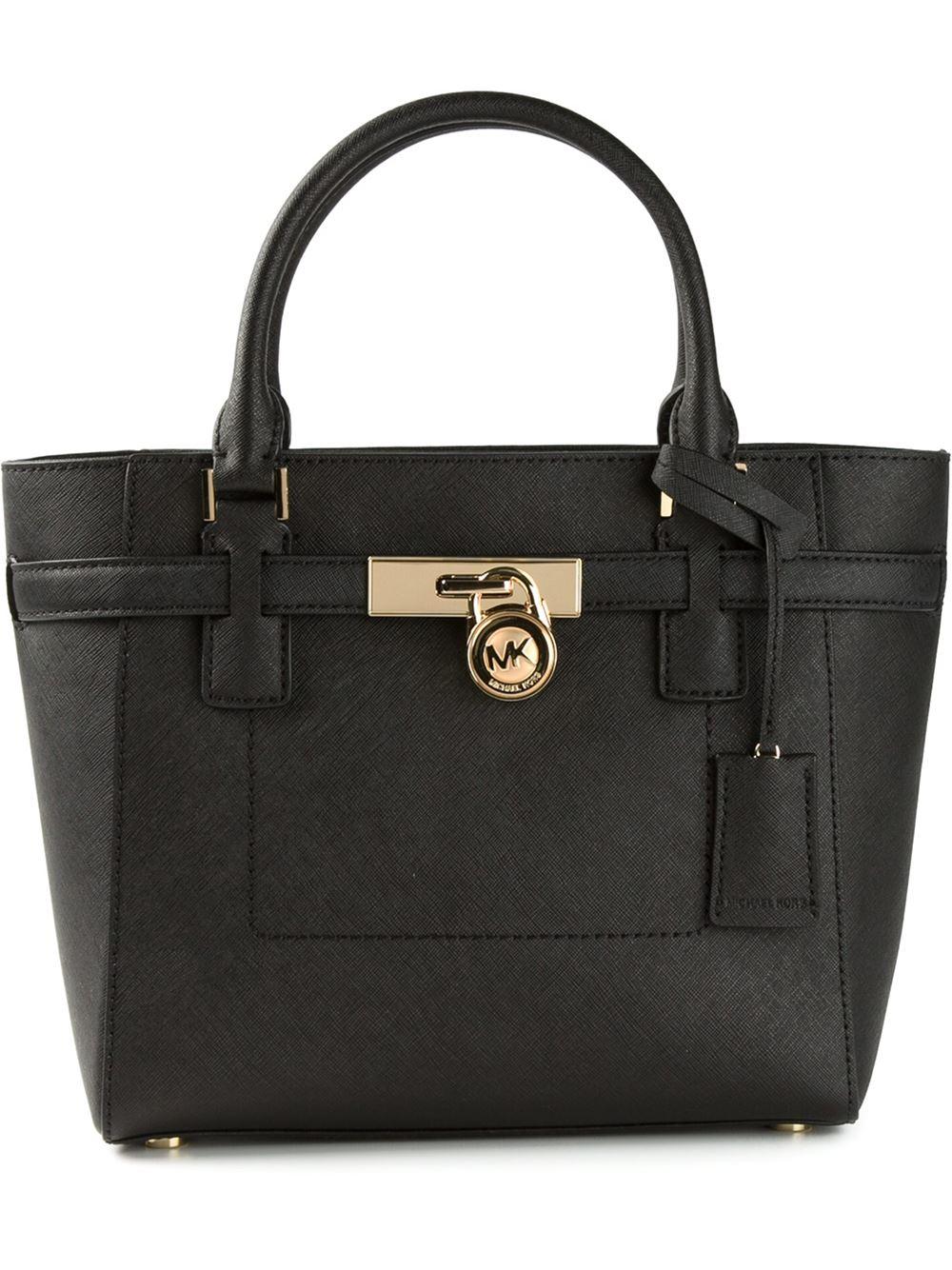 michael michael kors 39 hamilton 39 medium satchel in black lyst. Black Bedroom Furniture Sets. Home Design Ideas