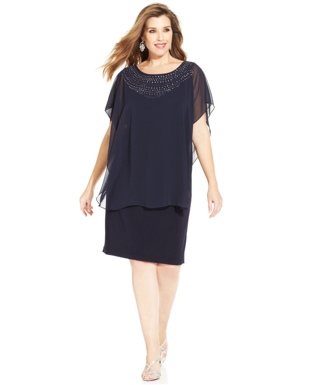 Betsy Adam Plus Size Embellished Sheath Dress - Photo Dress ...