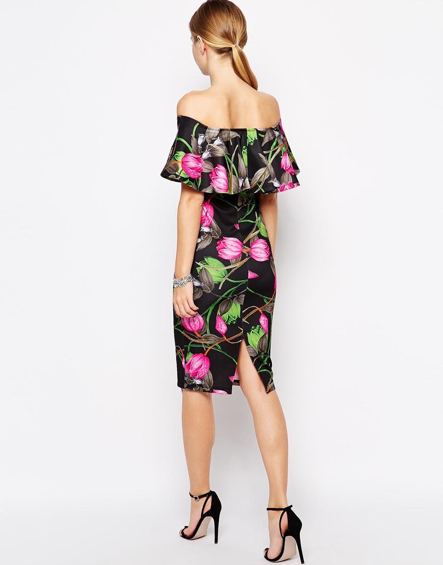 Lyst Asos Floral Ruffle Top Midi Dress In Black