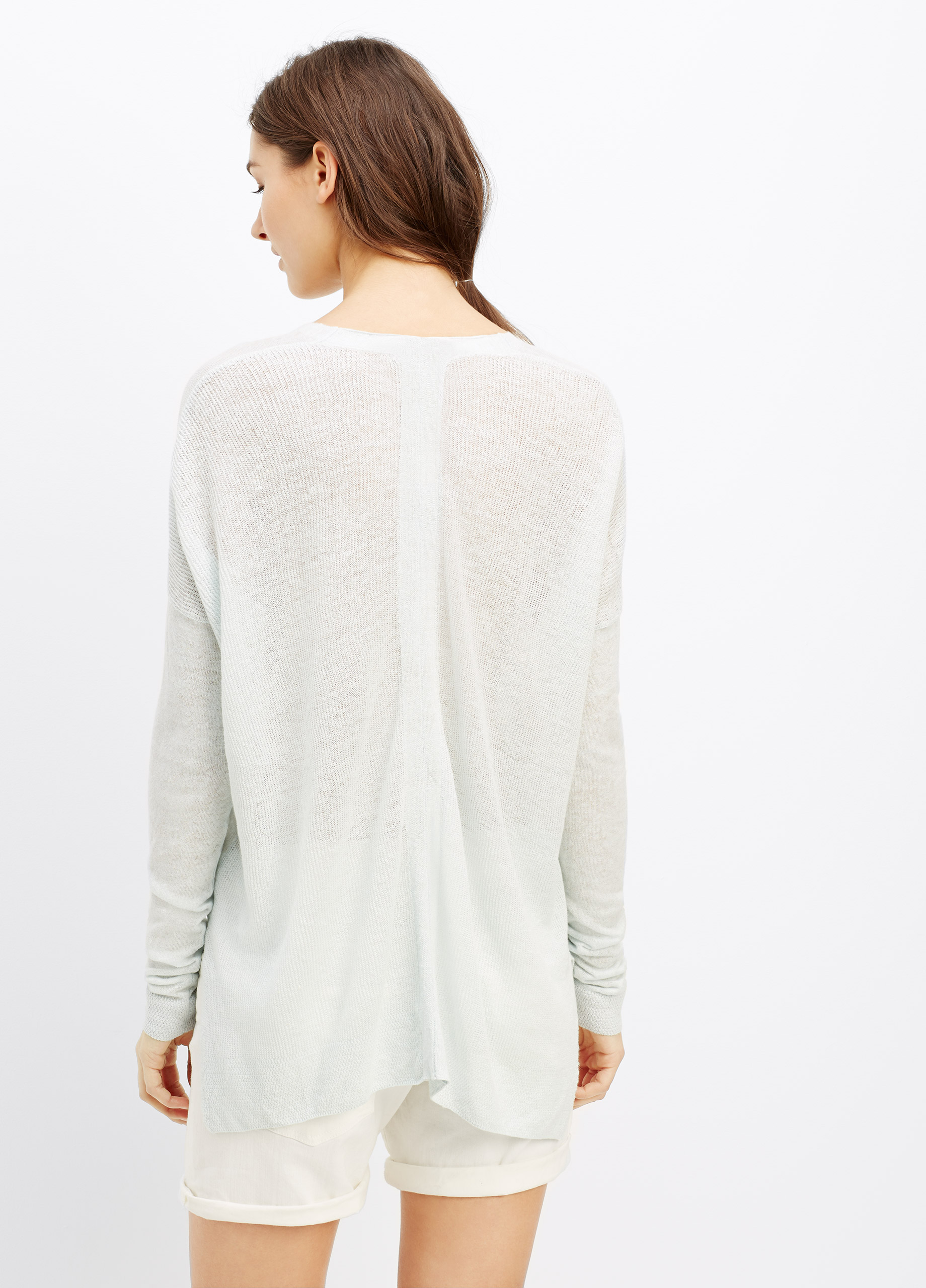 Lyst Vince Linen V Neck Sweater With Ribbed Back In Blue