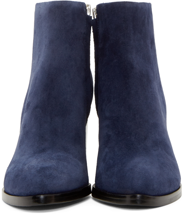 85e1c80743b4c Alexander Wang Blue Suede Notched Heel Gabi Ankle Boots in Blue - Lyst