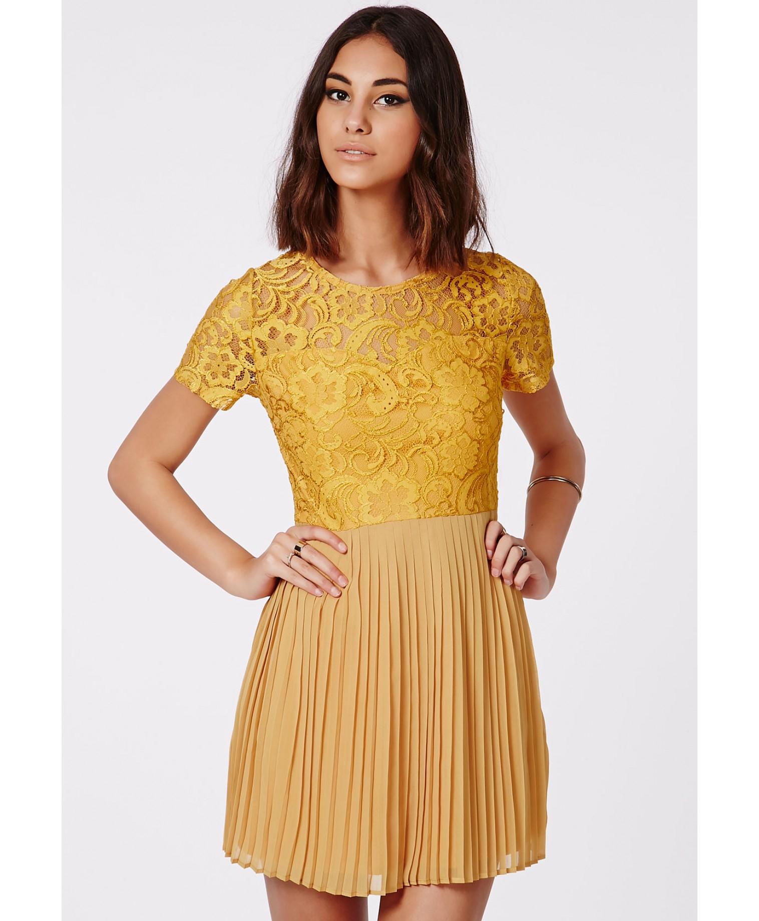 lyst missguided jensine pleated skirt lace skater dress