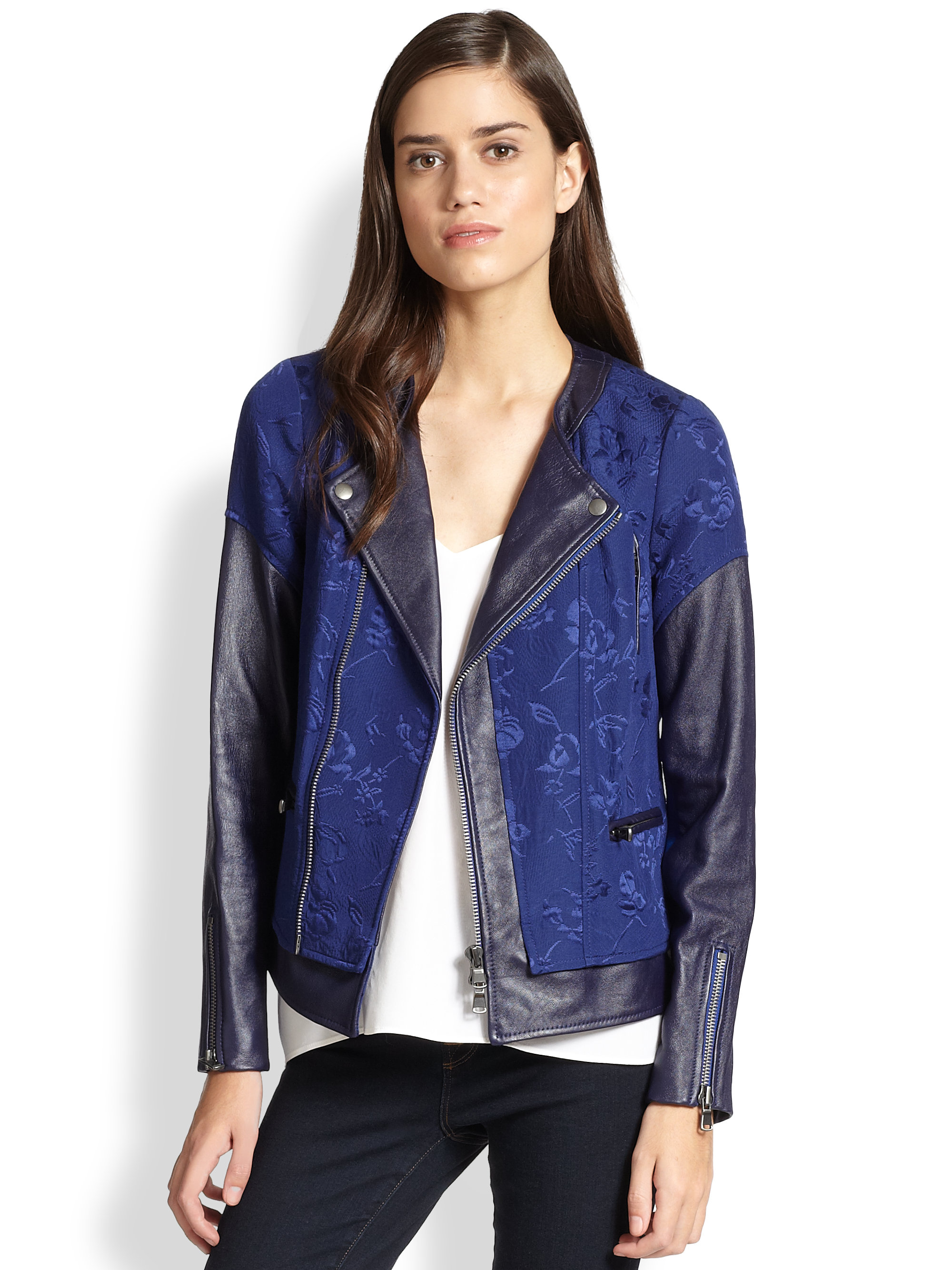 Rebecca Taylor Floral Jacquard Amp Leather Moto Jacket In