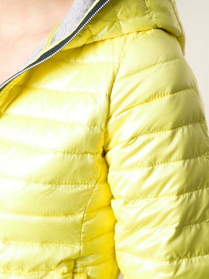 Lyst Duvetica Eeria Hooded Padded Jacket In Yellow