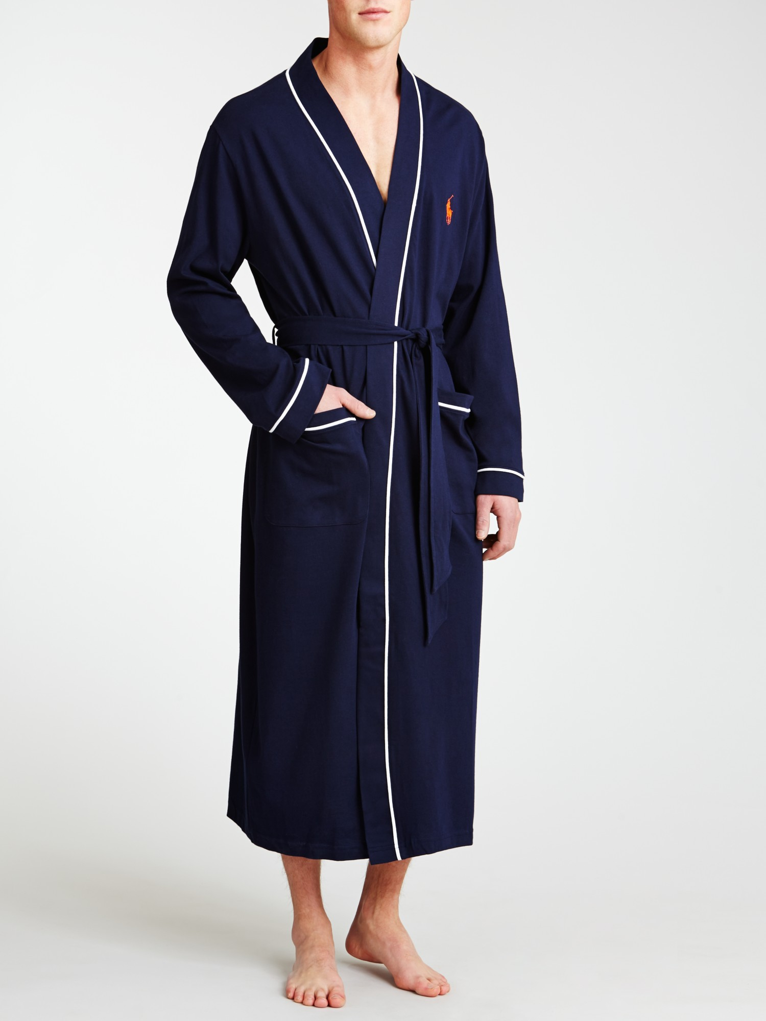 a42fe270 Polo Ralph Lauren Cotton Jersey Piped Dressing Gown in Blue for Men ...
