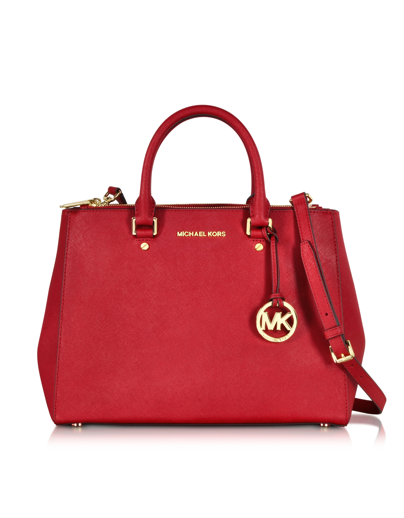 michael kors sutton saffiano leather large satchel in red. Black Bedroom Furniture Sets. Home Design Ideas