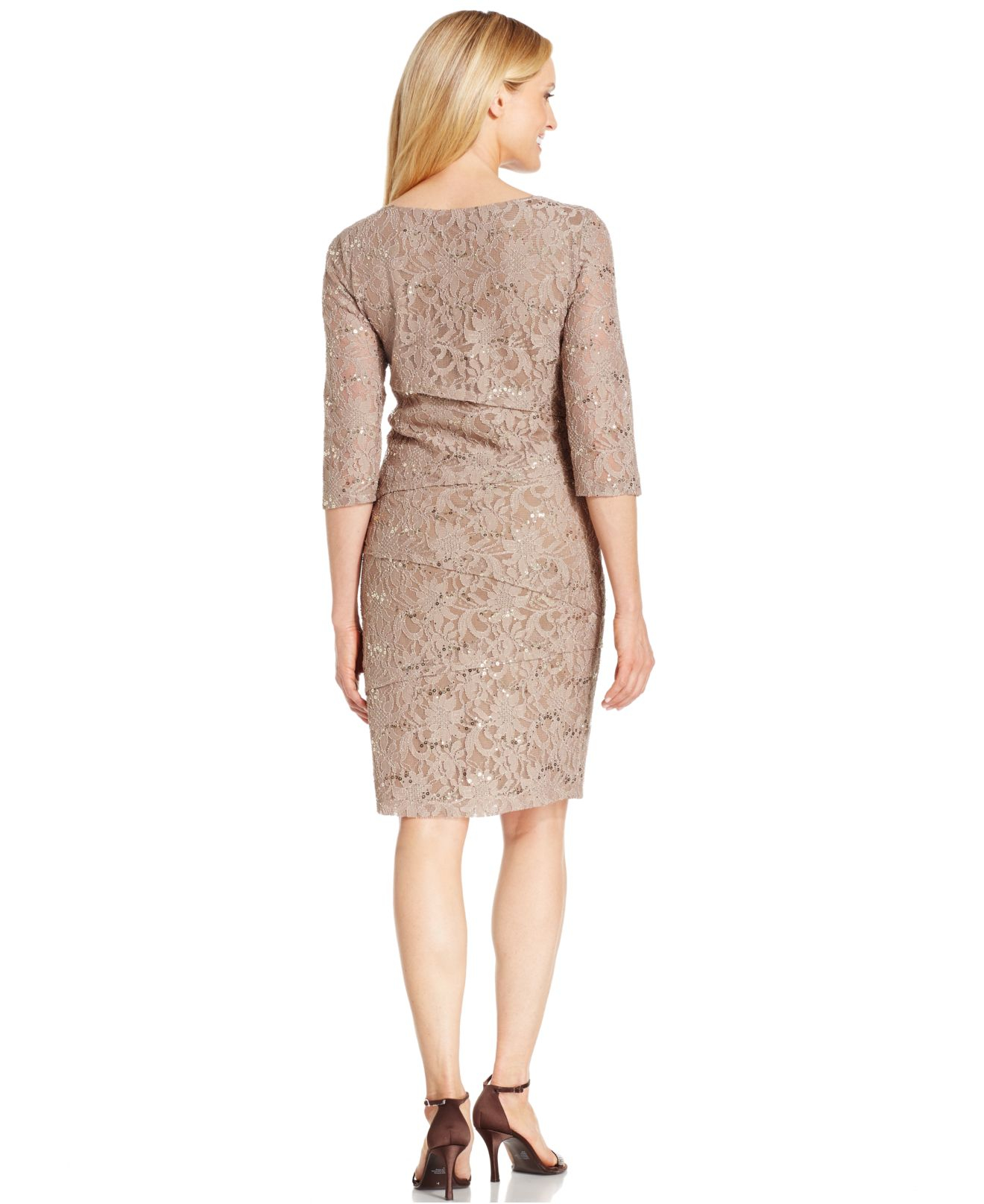Lyst Ronni Nicole Tiered Sequin Lace Dress In Brown