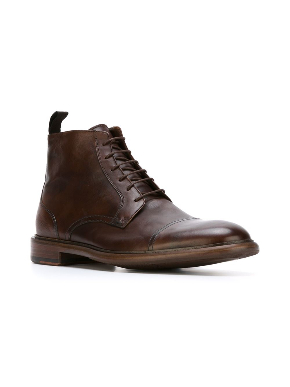 paul smith brown lace up ankle boots for lyst