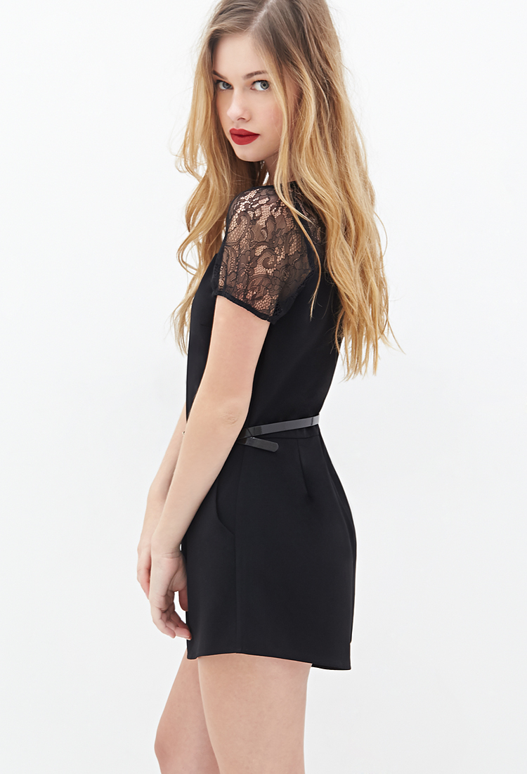 937369b6f29 Lyst - Forever 21 Pintucked Floral Lace Playsuits in Black